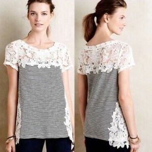 Anthropologie Meadow Rue Striped Lace Edge top